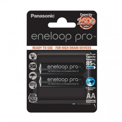 Аккумуляторы Panasonic Eneloop Pro AA 2450mAh 2BP(BK-3HCDE/2BE) 2шт