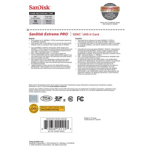 Карта памяти SanDisk Extreme Pro SDXC UHS-II 64Gb 300MB/s