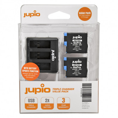 Набор Jupio Value Pack: 2x Battery GoPro HERO8 AHDBT-801 1260mAh + Compact USB Triple Charger